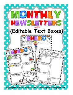 Monthly Newsletters in Spanish with Editable Text Boxes - This Microsoft Word document includes monthly newsletters in 3 different formats to suit your needs. You may choose two versions to create a double-sided newsletter. Two of the formats are in color and the third format is in black and white.