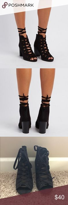 Spotted while shopping on Poshmark:  Lace up peep toe booties size 8! #poshmark #fashion #shopping #style #Shoes