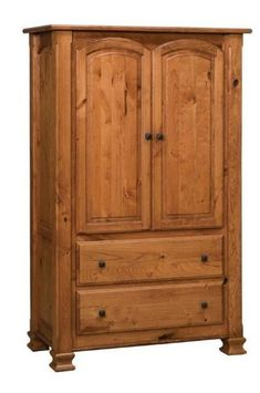 Amish Trenton One Piece Armoire with Two Drawers and Two Doors Build the armoire you've been dreaming of. The Trenton is terrific from every angle and is built in the wood and stain you choose.American made wood furniture. #armoire