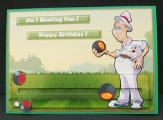Bowling Dude Slider  on Craftsuprint designed by Gordon Fraser - made by Cheryl French - Printed onto glossy photo paper. Matted onto dark gold mirri card. Attatched slider with 3mm foam tape. Used 2mm foam dot to attatche bowl, built up image with 1mm foam pads. - Now available for download!