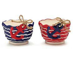 Ceramic Navy Anchor Red, White & Blue Serving Bowl