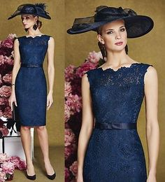 Hot Sale Mother of the Bride Dress Knee Length lace Wedding Guest Evening Gown