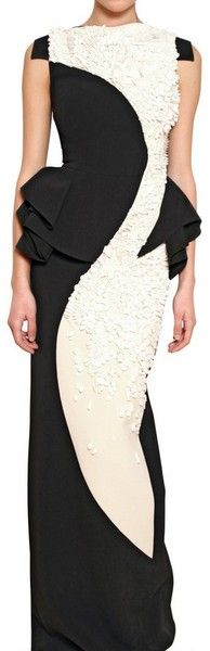 ANTONIO BERARDI . Embroidered Rayon Cady Long Dress Black . lyst.com