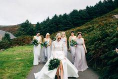 Dale Weeks Photography   Stylish Welsh Wedding   Emma Beaumont Wedding Dress   Mis-Match High Street Grey Bridesmaid Dresses   Green Foliage Bouquets