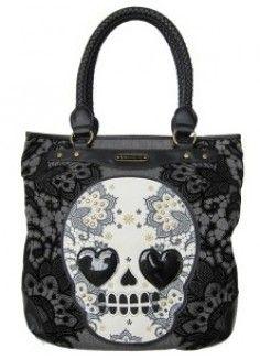 d0179dc03c6 Lacey Skull Tote Bag Portemonnees En Tassen, Handtassen, Grote Tassen,  Griezelig, Schouder