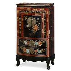 Hand Painted Tibetan Design Jewelry Armoire