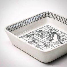 "square bowl in ""Emilia"" design Raija for Arabia Finland. Emilia was in production at Arabia from 1957 to by retrogrammer Vintage Ceramic, Metallica, Finland, Ceramics, Dishes, Instagram Posts, Design, Black White, Ceramica"