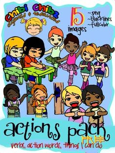 Here are 15 ber cute Chibi ACTION CLIPARTS in Kricket~Chibi Chibz Cliparts & Resources* * * * * * * * * *If you enjoyed this, please check out my ACTIONS PACK VOLUMES 1, 2 & 3:http://www.teacherspayteachers.com/Product/ACTIONS-CLIPART-PACK-VOL1-Action-Words-Verbs-...