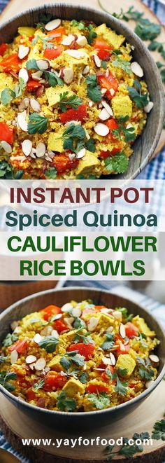 Instant Pot Spiced Quinoa and Cauliflower Rice Bowls: A flavorful and healthy vegan meal featuring turmeric, cumin, and coriander spiced quinoa, cauliflower rice, and tofu! | Posted By: DebbieNet.com
