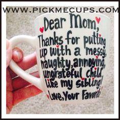 Dear mom- sibling mug Keep calm and love Mom - Mother's Day Mug Mom you're way cooler than dad - Mother's Day mug family member coffee mug