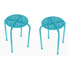 DarLiving Daisy Stackable Metal Stool (Set of 2)