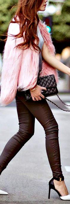 Street style - pink jacket