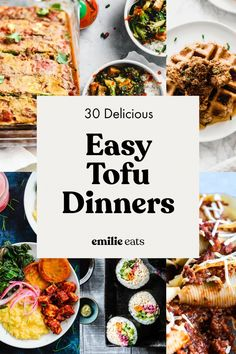 Tofu is an affordable, versatile, plant-based protein that can be made in a wide variety of healthy vegan meals. From nachos to lasagna to soup, try one of these 30 recipes for tofu dinners tonight! Tofu Recipes, Delicious Vegan Recipes, Vegan Meals, Whole Food Recipes, Yummy Food, Healthy Recipes, Vegan Food, Whole 30 Vegan, Tofu Chicken