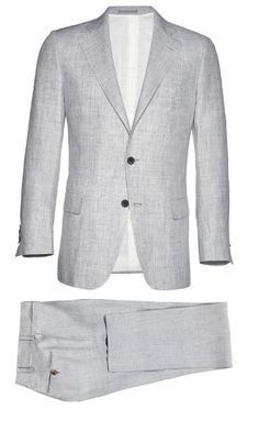 In pure Italian linen and a traditional two-button cut this suit will look great at a wedding right now, as well as for many summers to come. York light grey plain linen suit ($469) by suitsupply.com