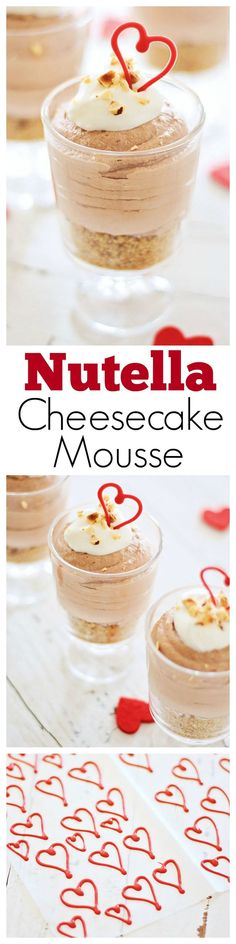 Nutella Cheesecake Mousse – light, fluffy Nutella cheesecake mousse in a glass, with hazelnuts. Super easy dessert recipe for special occasions