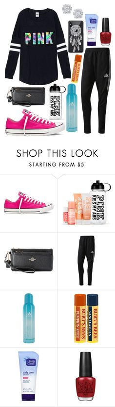 """""""Untitled #12429"""" by ohnadine ❤ liked on Polyvore featuring Victoria's Secret, Converse, Coach, adidas, Burt's Bees, Revé, OPI and Effy Jewelry"""