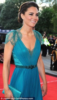 Kate Middleton in a teal Jenny Packham gown. May, 2012.