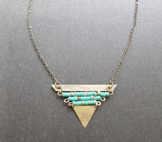 Turquoise Triangle Brass and Bead Necklace by LoveChrissa on Etsy, $45.00