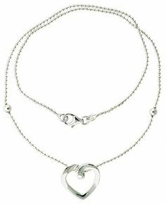"""Sterling Silver Necklace with a Heart Slide 17"""" Sabrina Silver. $41.98"""
