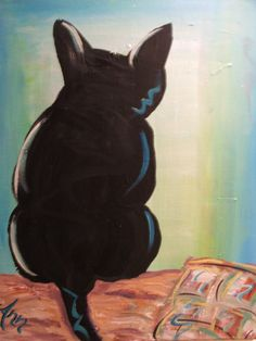 #Cat #painting by #Ann Lutz.