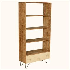 "Bookcases never go out of fashion, but we just might change up what we put in them from time to time. Our Industrial Style 4-shelf open back #storageshelf also includes a convenient bottom drawer with a file cabinet front, complete with two swinging handles and a ID plaque. This contemporary 69"" tall bookshelf is a smart choice for media equipment because the open back design provides easy access to outlets and connections. #interiors #contemporaryfurniture #homedecor #furniture…"