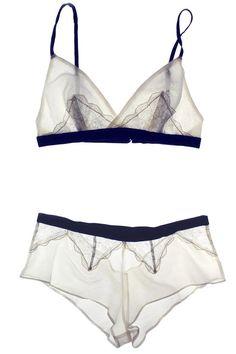 Arabesque Ivory/Navy Cotton Silk & Lace Soft Bralette | Luxury Designer Lingerie…
