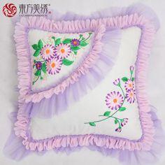 Cute Pillows, Diy Pillows, Decorative Pillows, Silk Ribbon Embroidery, Hand Embroidery Designs, Bed Sheet Painting Design, Flower Pillow, Crochet Pillow, Neck Pillow