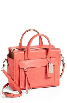 COACH 'Bleecker - Mini Riley' Leather Crossbody Bag available at #Nordstrom in Peach Rose PERFECT FOR SERVICE