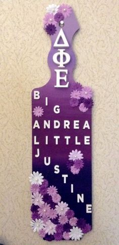 Sorority paddle big little dphie flowers delta phi epsilon Robert Morris University, phi upsilon chapter