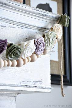 DIY Fabric Flower Garland - A Wonderful Thought Fabric Garland, Floral Garland, Flower Garlands, Handmade Flowers, Diy Flowers, Felt Flowers, Flower Pots, Handmade Headbands, Handmade Soaps