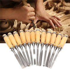 12Pcs Woodworking Wood Carving Hand Chisel Professional Gouges Tool Set