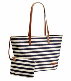 Amazon.com: ZLYC Women Ladies Summer Beach Handbags Stripe Tote Canvas Shoulder Zipper Bag Blue & Beige: Clothing