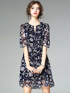 Elegant O-Neck Short Sleeve Floral Print A-Line Dress; Size: ; Color: Blue; Material: Polyester; Style: Casual; Silhouette: A-Line Dresses; Pattern Type: Print; Decoration: None; Dresses Length: Above Knee, Mini; Sleeve Style: Regular; Sleeve Length: Short; Waistline: Dropped; Neckline: O-Neck; ; Price: US$ 61.49