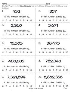1000+ ideas about Divisibility Rules on Pinterest | Math, Fractions ...