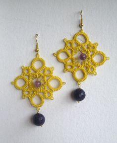 Orecchini al chiacchierìno con agata viola e ametiste realizzati da Simona Verrastro. Notedizucchero.blogspot.com