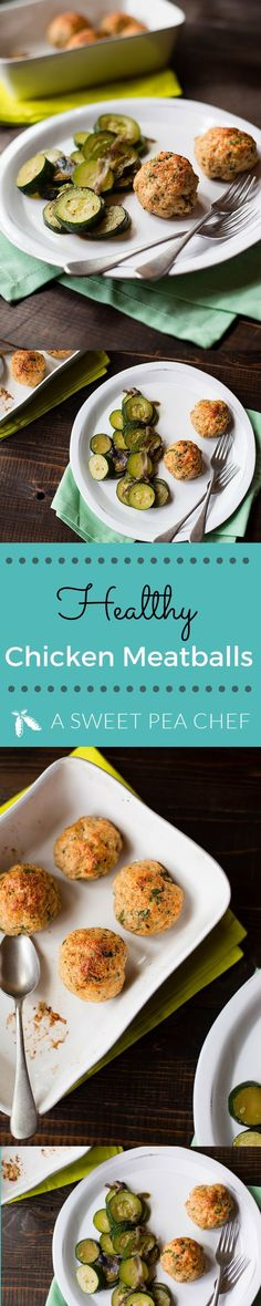 Healthy Recipes : Illustration Description Healthy Chicken Meatballs and Zucchini photos and recipes by Lacey Baier www.asweetpeachef… -Read More – Baked Chicken Meatballs, Easy Baked Chicken, Healthy Meatballs, Meatballs 2, Low Carp, Healthy Meatloaf, Healthy Family Dinners, Diabetic Meals, Healthy Chicken Recipes