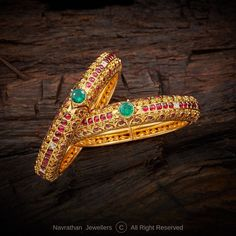 All Temple Jewellery | Navrathan Jewellers - Part 34 Diamond Bangle, Diamond Jewelry, Gold Jewelry, Gold Bangles Design, Jewelry Design, Latest Jewellery, Temple Jewellery, Jewelry Stores, Wedding Jewelry