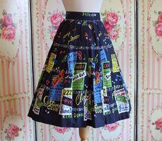 RESERVED  1950s Novelty Print Skirt / Jazz by RainbowValleyVintage, £125.00