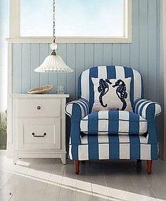 Coastal Style: 5 Decorating Tips for Beach House Style Beach Cottage Decor, Coastal Decor, Coastal Style, Coastal Living, Dream Beach Houses, Nautical Home, Nautical Stripes, Blue Stripes, Take A Seat