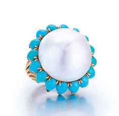 A French Estate Pearl and Turquoise Ring by Cartier