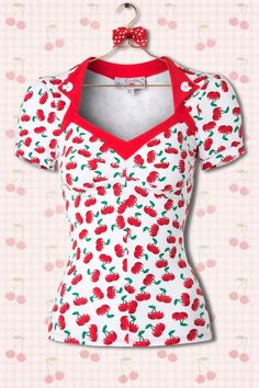 Miss Candyfloss - 50s Elyse Cherry Top in White