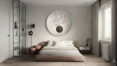 Image may contain: wall, indoor and furniture Grey Bedroom Decor, Bedroom Bed Design, Modern Bedroom Design, Home Bedroom, Washroom Design, Minimal Bedroom, Master Room, Interior Design Studio, Luxurious Bedrooms