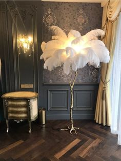 "Eos lampshade Xl light brown UmageUmageEos lampshade Xl light brown UmageUmageHollywood Regency Brass Ostrich Feather LampHollywood Regency Brass Ostrich Feather Lamp - Marie AntonetteUMAGE Light Gray with White Swag Eos 30 ""Feather Pendant in Hollywood Glamour Bedroom, Hollywood Regency Decor, Old Hollywood Decor, Hollywood Room, Hollywood Makeup, Hollywood Waves, Hollywood Theme, Hollywood Hills, Hollywood Studios"
