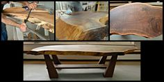 Black walnut coffee table with a natural live edge.