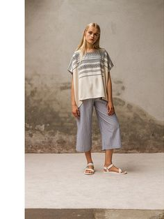 Striped wide leg lounge pants with towel stripe loose top. Pluto - On the Moon
