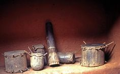 A group of drums - House of the Oba, Benin City, Nigeria