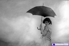 Fashion b/w umbrella photography