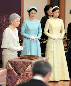 japaneseimperialfamily:  Japan's Imperial Family attended a poetry reading at the Imperial Palace, January 14, 2015-Empress Michiko, Princess Kiko, and Princess Kako