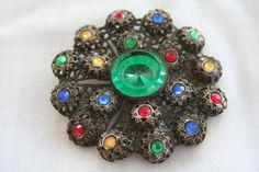 Large Colorful Vintage Rhinestone Brooch by exquisitevintaj, $12.00