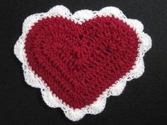Crochet heart - just in time for Valentine's Day. Free Pattern using 5 yards of Dk weight yarn and small amount of Fingering weight yarn.